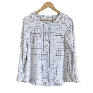 Reitmans Plaid Printed Long Sleeve Button Up Top